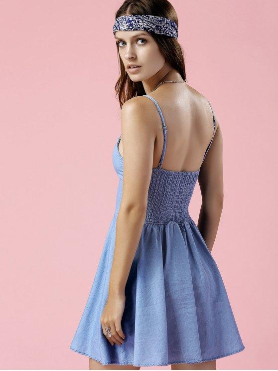 Embroidered Denim Cami Dress - BLUE L Mobile