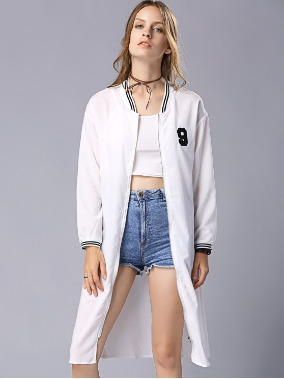 Letter Embroidery Stand Collar Long Sleeve Baseball Coat - WHITE S Mobile
