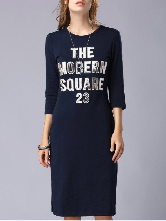 Lettre Patchwork col rond 3/4 robe à manches - Bleu Violet M