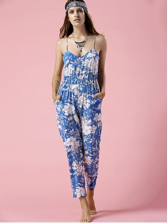 Blue Floral Print Cami Jumpsuit - BLUE M Mobile
