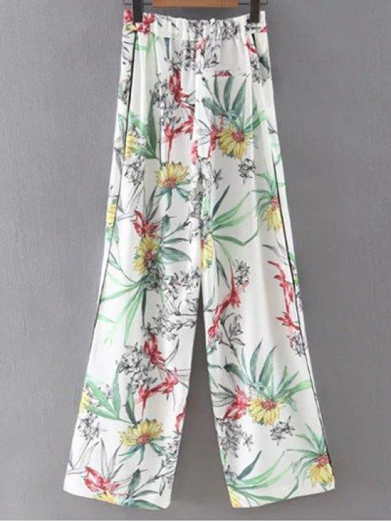 Impreso de cintura alta pantalones de pierna ancha - Blanco S