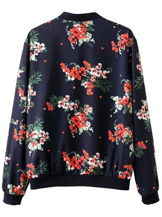 Floral Print Stand Neck Long Sleeve Zipper Up Jacket - PURPLISH BLUE L Mobile