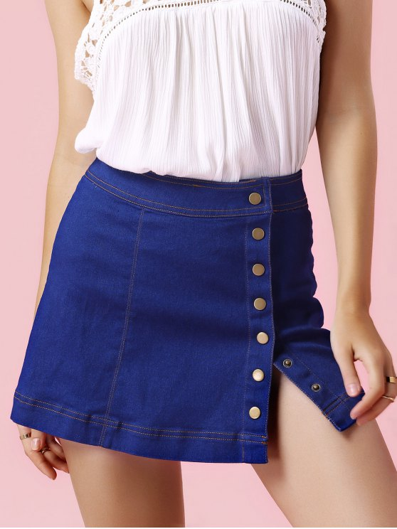 Solo pecho-Denim Minifalda - Azul Claro L