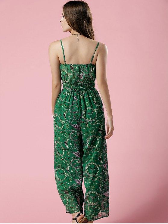Green Print Cami Chiffon Jumpsuit - GREEN S Mobile