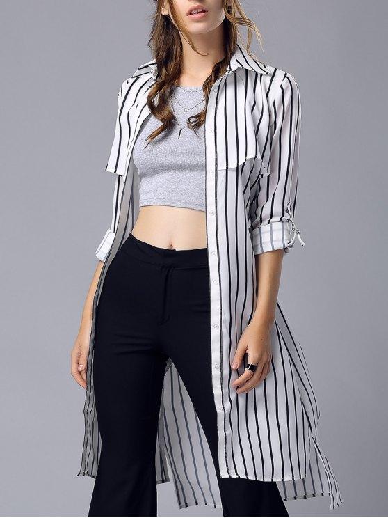 outfit Striped Turn Down Collar Chiffon Maxi Shirt - STRIPE M
