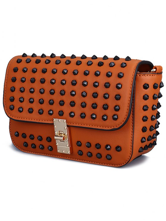 Studded Hasp Solid Color Crossbody Bag - BLACK  Mobile