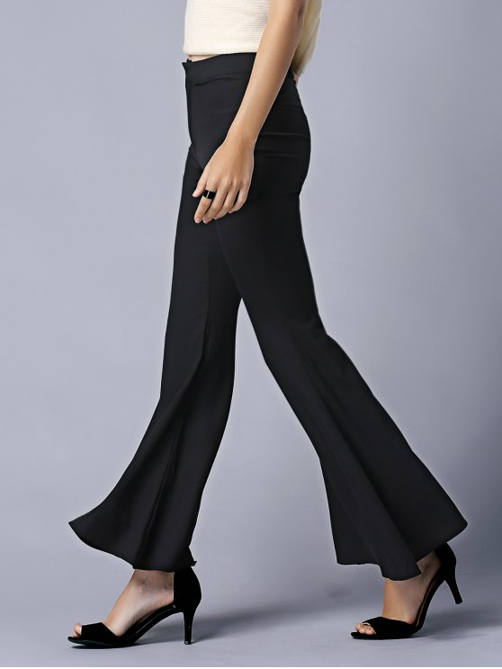 Black High Waist Flare Pants - BLACK XL Mobile