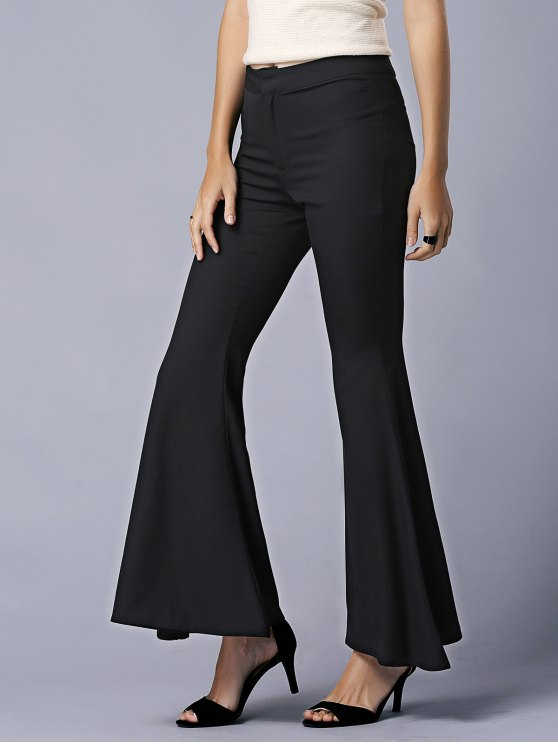 affordable Black High Waist Flare Pants - BLACK M