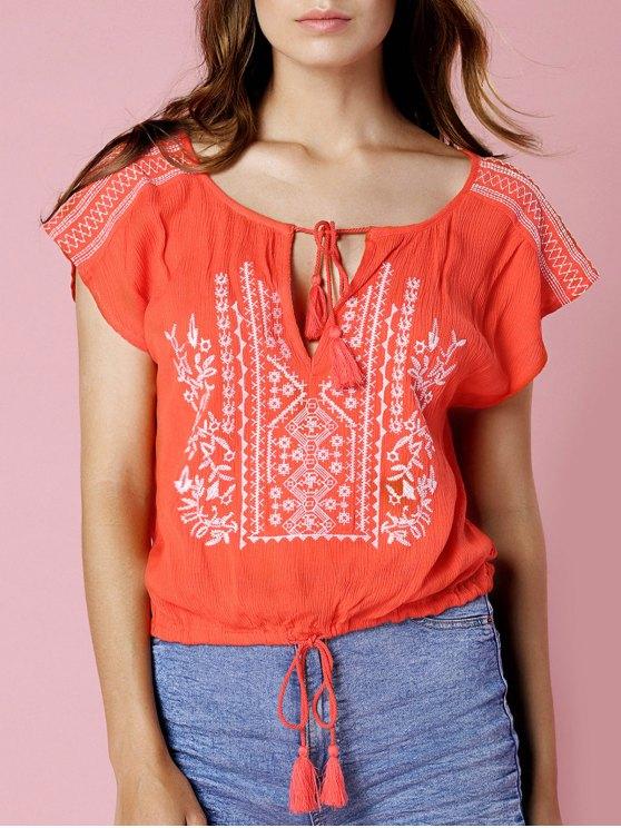 Floral bordado de manga corta recortada de la camiseta - Naranja S