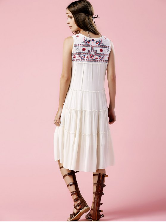 Floral Embroidery Scoop Neck Sundress - OFF-WHITE S Mobile