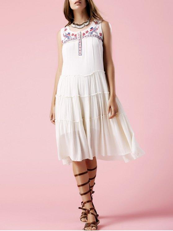 trendy Floral Embroidery Scoop Neck Sundress - OFF-WHITE S