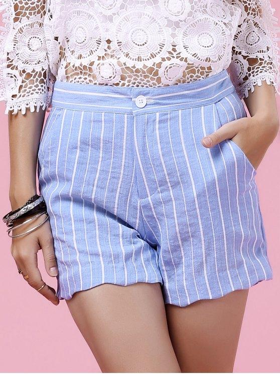 Striped Scalloped Hem Shorts - LIGHT BLUE XL Mobile