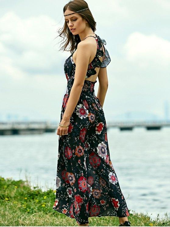 Floral Print Beach Maxi Dress - BLACK M Mobile