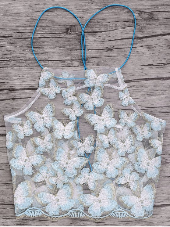Backless Butterfly Embroidery Spaghetti Straps Crop Top - WHITE ONE SIZE(FIT SIZE XS TO M) Mobile