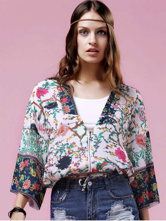 shops Floral Print Turn-Down Collar Bat-Wing Sleeve Blouse - COLORMIX S