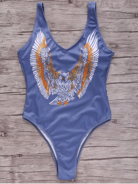 Eagle Print Plunging Neck One-Piece Swimwear - COLORMIX S Mobile