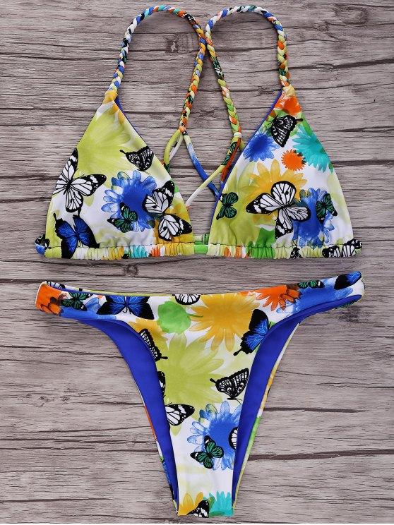 online Butterfly Print Braided Bikini Set - BLUE L