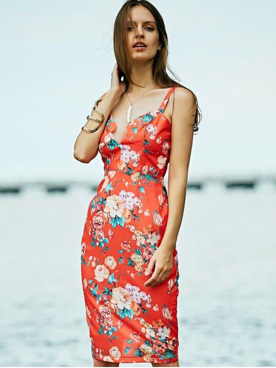 Low Cut Bodycon Midi Dress - ORANGE RED M Mobile