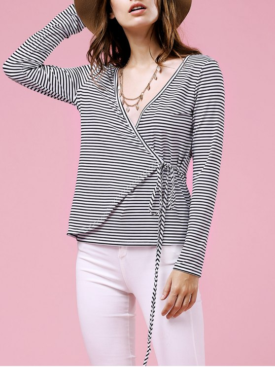 best Drawstring Striped Plunging Neck Long Sleeve T-Shirt - WHITE M