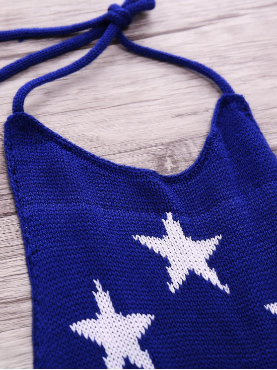American Flag Print Halter Crop Top - BLUE M Mobile