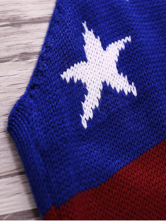 American Flag Print Halter Crop Top - BLUE S Mobile