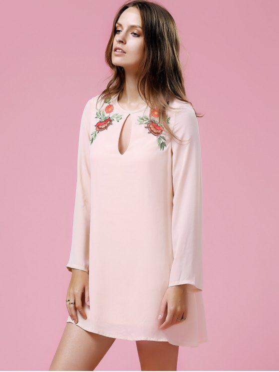Loose Printed Round Neck Long Sleeve Dress - SHALLOW PINK M Mobile