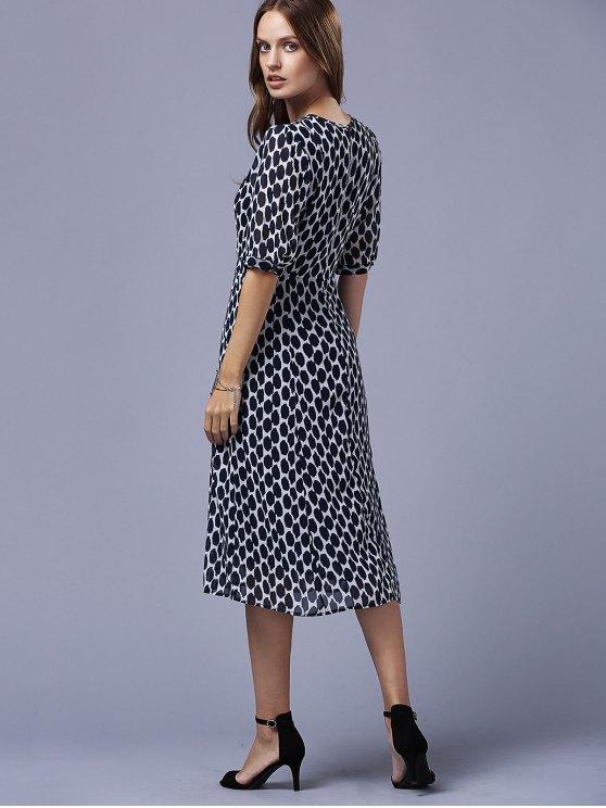 Polka Dot Round Neck Half Sleeve Swing Dress - BLACK M Mobile