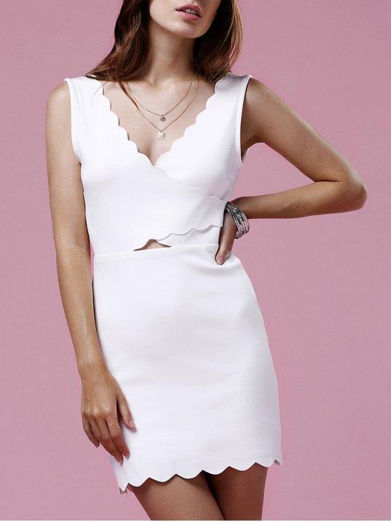 online Scalloped White Mini Dress - WHITE XL