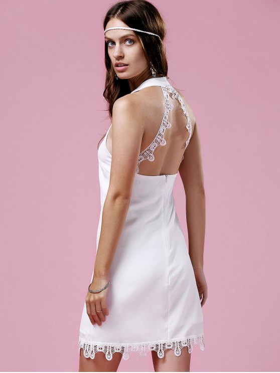 Lace Trim Halter Dress - WHITE M Mobile