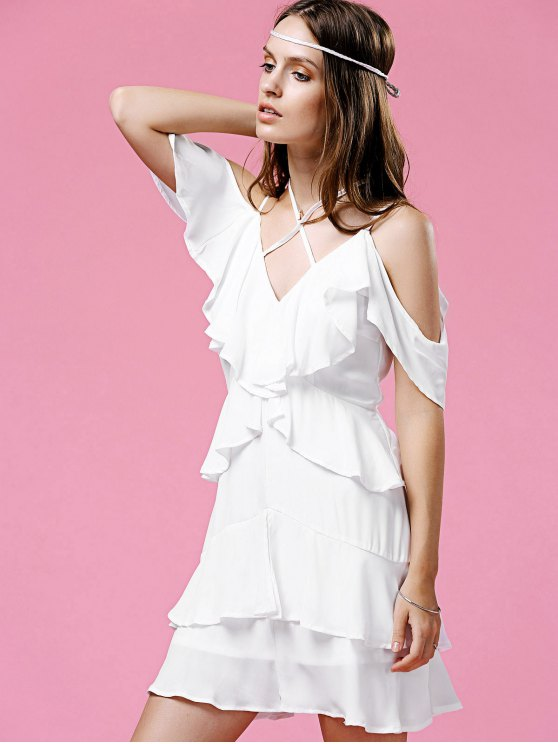 Strappy Ruffle White Dress - WHITE L Mobile