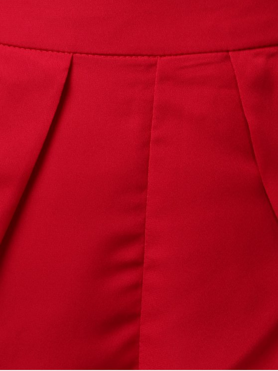 Chiffon Padded Crop Top and Shorts - RED M Mobile