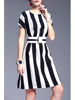 Waisted Corset Striped Dress - White And Black S