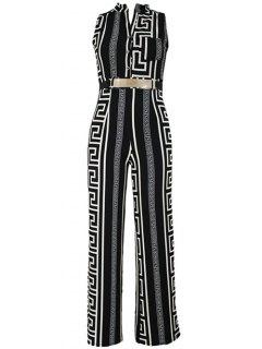 Printed Stand Neck Sleeveless Jumpsuit - Black Xl