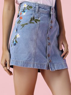 Embroidered Floral Denim Skirt - Blue Xl