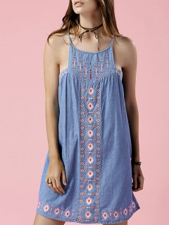 Retro Embroidery Sleeveless Chambray Dress - Light Blue S