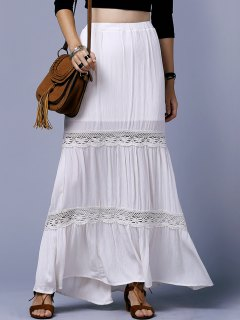 Off White High Waist Lace Splice Skirt - Off-white Xs
