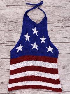 American Flag Print Halter Crop Top - Blue S