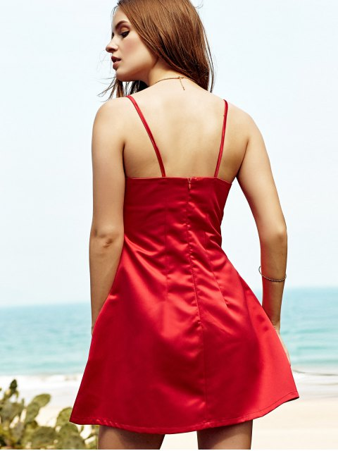 affordable Low Cut Mini Party Dress - RED L Mobile