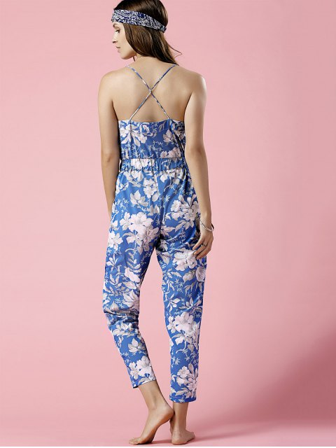 women Blue Floral Print Cami Jumpsuit - BLUE L Mobile