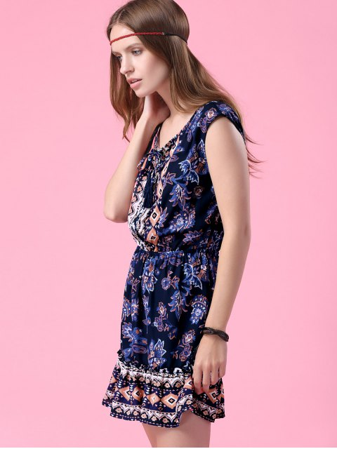 online Printed V-Neck Sleeveless Waisted Dress - PURPLISH BLUE M Mobile