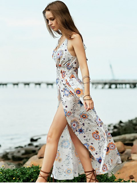 buy Floral Print Beach Maxi Dress - WHITE L Mobile