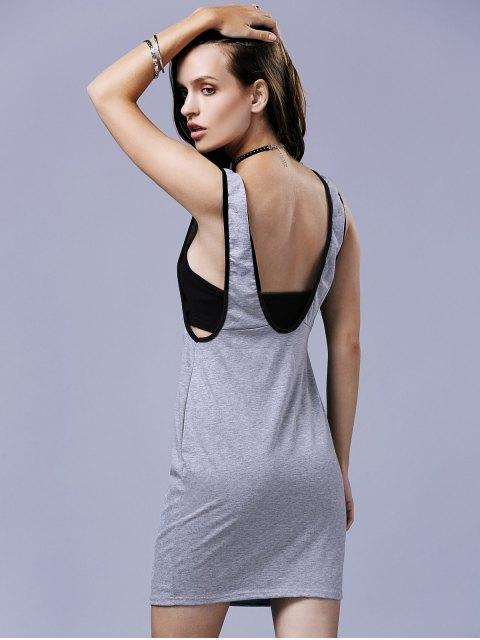 online Fitted Letter Print Scoop Neck Sleeveless Dress - LIGHT GRAY XL Mobile