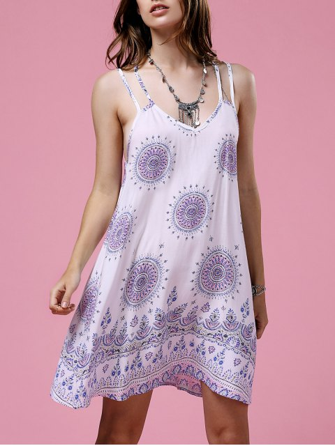 latest Ethnic Print Cami Backless Dress - WHITE S Mobile