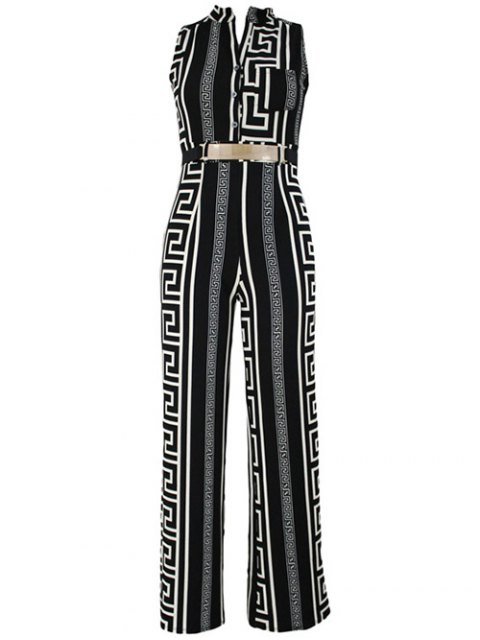trendy Printed Stand Neck Sleeveless Jumpsuit - BLACK 3XL Mobile