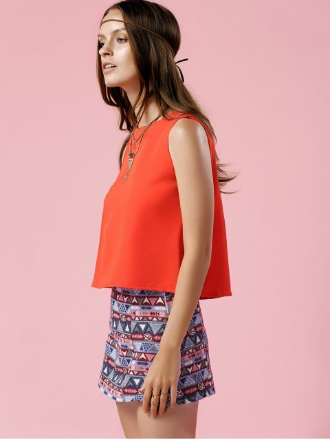 women Orange Tank Top and Geometric Print Skirt Suit - COLORMIX S Mobile
