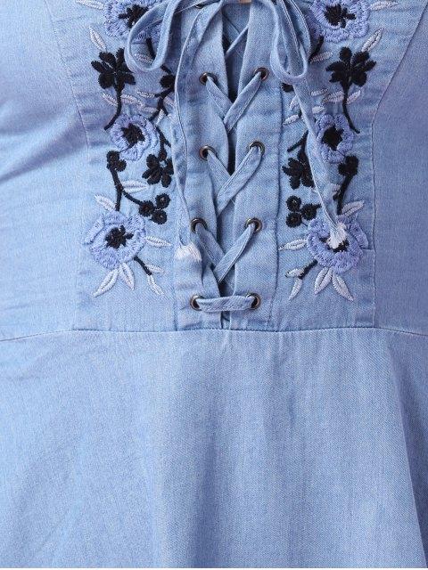sale Embroidered Denim Cami Dress - BLUE M Mobile