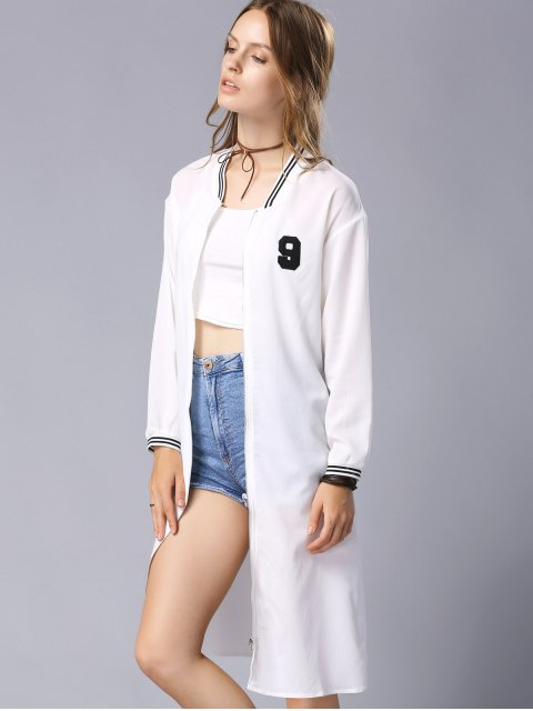fancy Letter Embroidery Stand Collar Long Sleeve Baseball Coat - WHITE S Mobile
