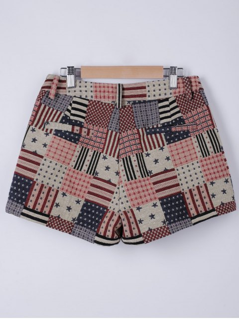women American Flag Shorts - WATERMELON RED M Mobile