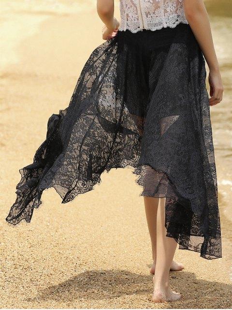 new Full Lace Black High Waist Skirt - BLACK M Mobile