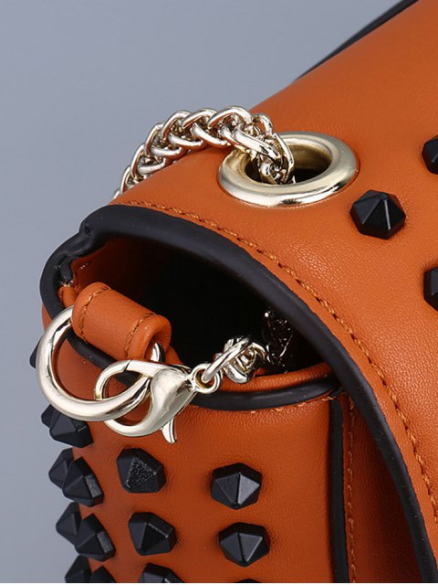 unique Studded Hasp Solid Color Crossbody Bag - BLACK  Mobile